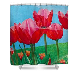 Shower Curtain featuring the painting Blue Ray Tulips by Pamela Clements
