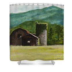 Blue Ridge Barn Shower Curtain by Carla Dabney