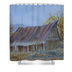 Blue Ridge Barn Shower Curtain by Joel Deutsch