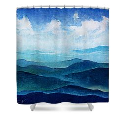 Blue Ridge Blue Skyline Sheep Cloud Shower Curtain by Catherine Twomey