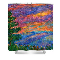 Blue Ridge Jewels Shower Curtain by Kendall Kessler