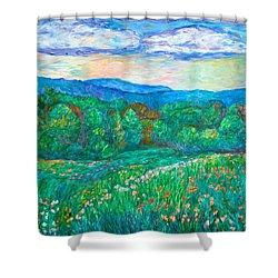 Blue Ridge Meadow Shower Curtain by Kendall Kessler