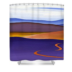 Blue Ridge Orange Mountains Sky And Road In Fall Shower Curtain by Catherine Twomey