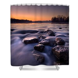 Blue River Shower Curtain by Davorin Mance