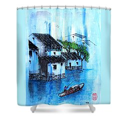 Blue River  Shower Curtain by Roberto Prusso