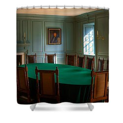 Shower Curtain featuring the photograph Blue Room 2 Wren Building by Jerry Gammon