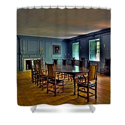 Shower Curtain featuring the photograph Blue Room Wren Building by Jerry Gammon