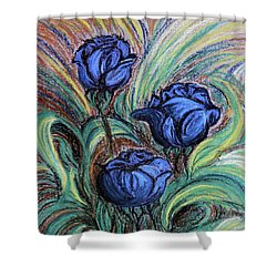 Blue Roses Shower Curtain by Jasna Dragun