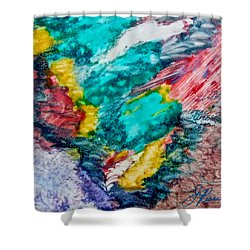 Shower Curtain featuring the painting Blue Rush by Joan Reese