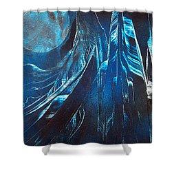 Blue Satin Shower Curtain