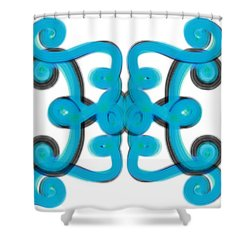 Shower Curtain featuring the digital art Blue Scroll Square by Christine Fournier