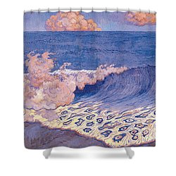 Blue Seascape Wave Effect Shower Curtain by Georges Lacombe