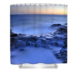 Blue Seaside Shower Curtain by Guido Montanes Castillo
