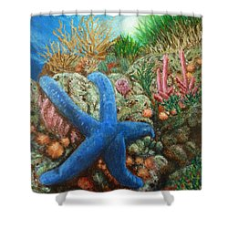 Shower Curtain featuring the painting Blue Seastar by Amelie Simmons