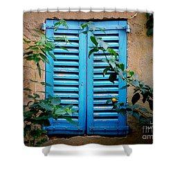 Blue Shuttered Window Shower Curtain