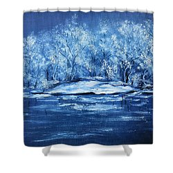 Shower Curtain featuring the painting Blue Silence by Vesna Martinjak