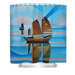 Blue Skies And Cerulean Seas Shower Curtain by Tracey Harrington-Simpson