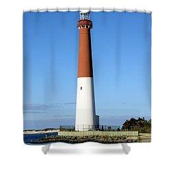 Blue Sky Blue Sea  And Barnegat Light Shower Curtain