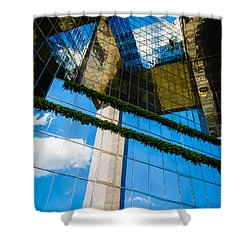 Shower Curtain featuring the photograph Blue Sky Reflections On A London Skyscraper by Peta Thames