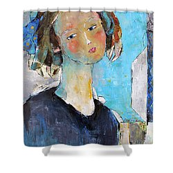 Shower Curtain featuring the painting Blue Sonata by Becky Kim