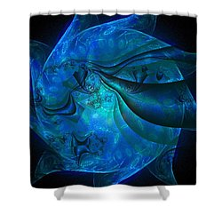 Blue Sphere Shower Curtain by Nancy Pauling