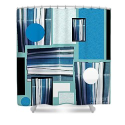 Shower Curtain featuring the mixed media Blue Stacked Up by Ann Calvo