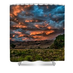 Blue Sunset Shower Curtain by Cat Connor