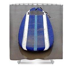 Blue Surfboard Shower Curtain