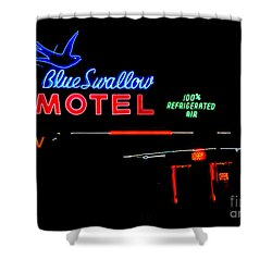 Blue Swallow Motel Neon Sign Shower Curtain by Catherine Sherman