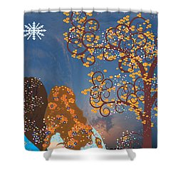 Shower Curtain featuring the digital art Blue Swirl Girls 2 by Kim Prowse