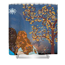 Blue Swirl Girls Shower Curtain