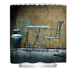 Shower Curtain featuring the photograph Blue Table And Chairs by Lucinda Walter