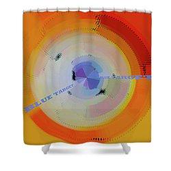 Blue Target Shower Curtain by Ben and Raisa Gertsberg