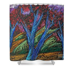 Central Park Blue Tempo Shower Curtain by Elizabeth Fontaine-Barr
