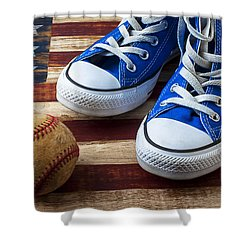 Blue Tennis Shoes And Baseball Shower Curtain by Garry Gay