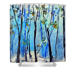 Blue Thoughts In Winter Shower Curtain