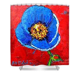 Blue Tibetan Poppy Shower Curtain by Ana Maria Edulescu