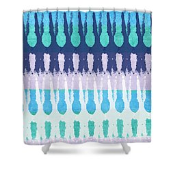 Blue Tie Dye Shower Curtain by Linda Woods