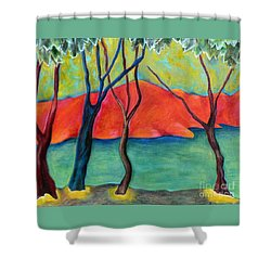 Blue Tree 2 Shower Curtain by Elizabeth Fontaine-Barr