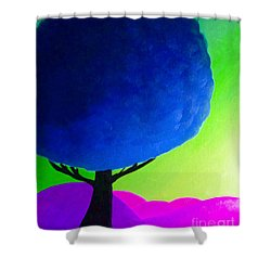 Shower Curtain featuring the painting Blue Tree by Anita Lewis