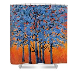 Blue Trees On A Hot Day Shower Curtain by Suzanne Theis