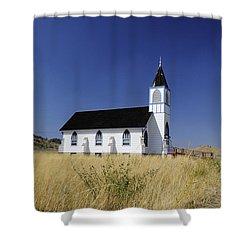 Shower Curtain featuring the photograph Blue Trim Church by Fran Riley
