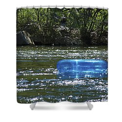 Blue Floaty - Inner Tube On The River Shower Curtain by Jane Eleanor Nicholas