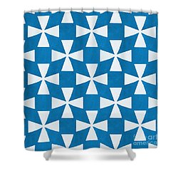Blue Twirl Shower Curtain by Linda Woods