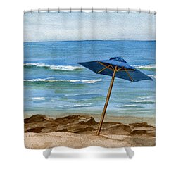Blue Umbrella Shower Curtain