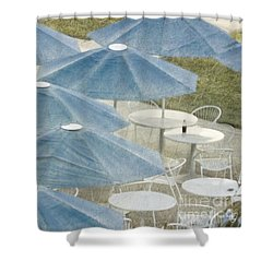 Blue Umbrellas And A Cola Shower Curtain
