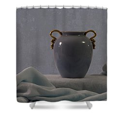 Blue Vase And Damask Shower Curtain by Sandra Foster