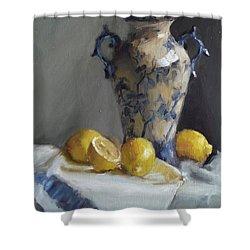 Blue Vase And Lemons Shower Curtain