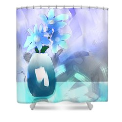 Shower Curtain featuring the digital art Blue Vase Of Flowers by Frank Bright