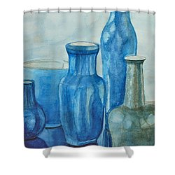Blue Vases I Shower Curtain